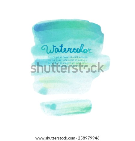 vector abstraction of blue watercolor stains on white background - stock vector