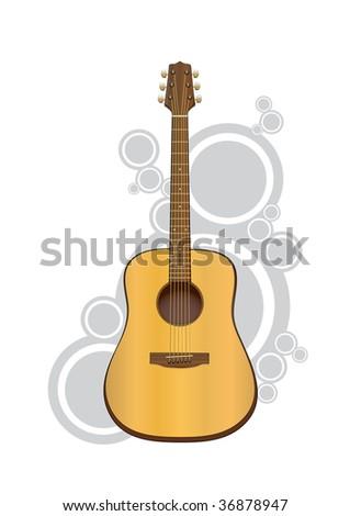 Vector Acoustic Guitar - stock vector