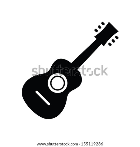 Vector Acoustic Guitar Icon - stock vector