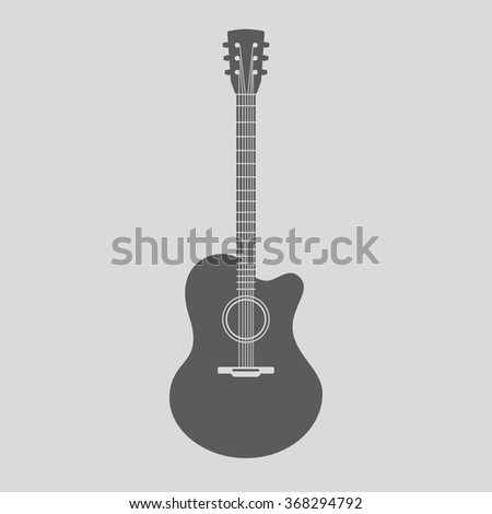 Vector Acoustic Guitar Icon. Gray sign with guitar silhouette on light background - stock vector