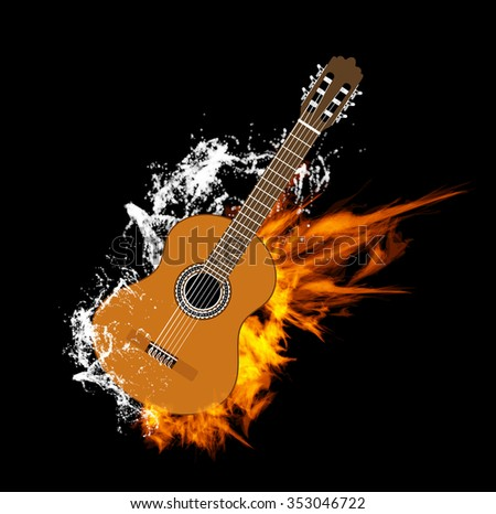 Vector Acoustic Guitar on Fire and Water - stock vector