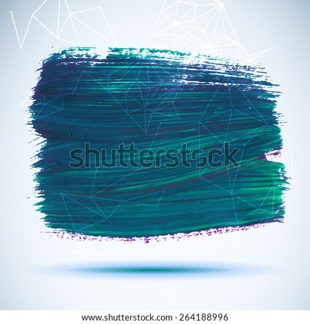 Vector acrylic blue ink spot. Wet brush stroke on paper texture. Dry brush strokes. Abstract composition for design elements - stock vector