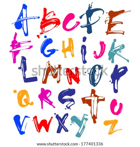 Vector Acrylic Brush Style Hand Drawn Colorful Calligraphy Alphabet Typeface Font - stock vector