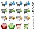 vector add delete shopping cart item - stock photo