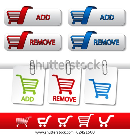 Vector add delete shopping cart item - stock vector