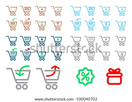 vector add remove shopping cart icons - stock vector