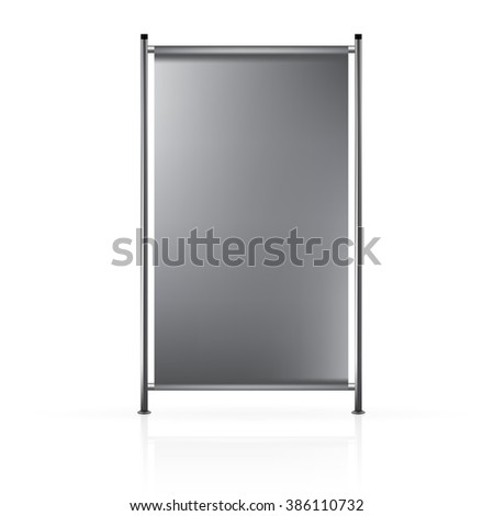 VECTOR ADS: Dark gray blank roll up banner connected to steel side poles on isolated white background. Mock-up template ready for design.