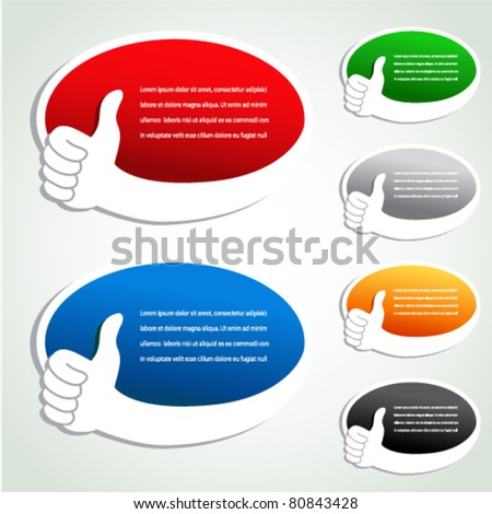 Vector advertisement bubbles with gesture hand - stock vector