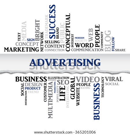 Vector advertising concept related words in tag cloud isolated on white with different association business terms. The effect of torn paper - stock vector