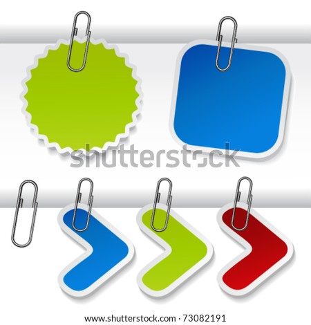Vector advertising labels with paperclip - stock vector