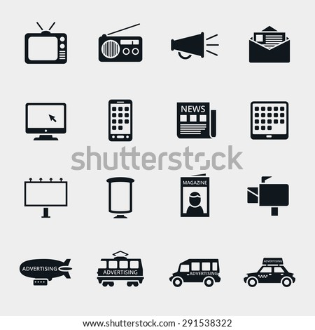 Vector advertising media silhouette icons set. Marketing and television, radio and internet, media content, multimedia market illustration - stock vector