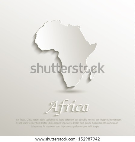 vector Africa map card paper 3D - stock vector