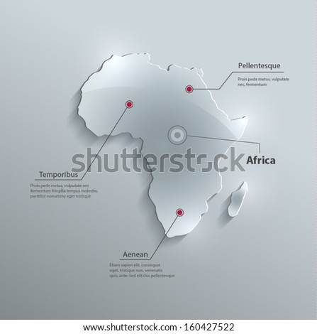vector Africa map glass card paper 3D - stock vector