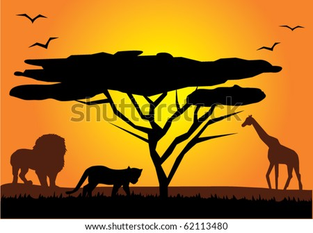 vector african landscape - stock vector