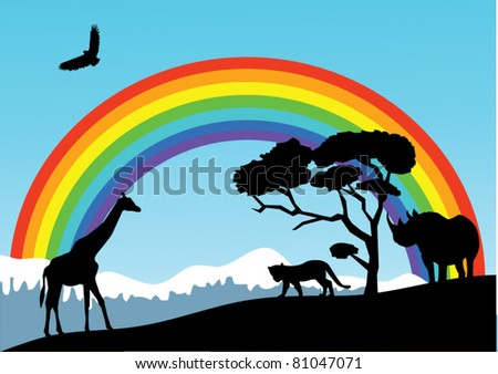 vector african landscape with animal silhouettes and rainbow - stock vector