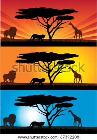 vector african landscape with animals - stock vector