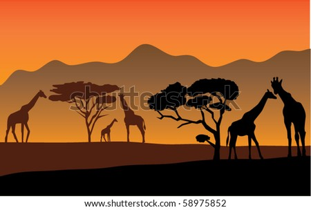 vector african landscape with giraffes - stock vector