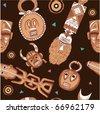 Vector African Seamless Tile (wallpaper texture background masks) - stock vector