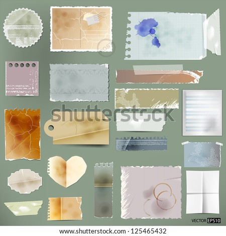Vector aged paper set. - stock vector