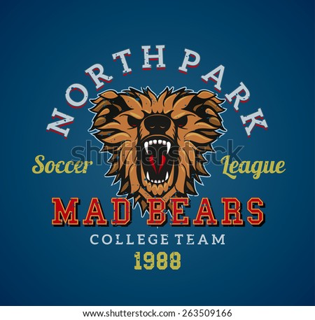 Vector aggessive athletic team badge. Attacking wild bear with a mouth open on the logo. Sample text with the team name around the sign. - stock vector