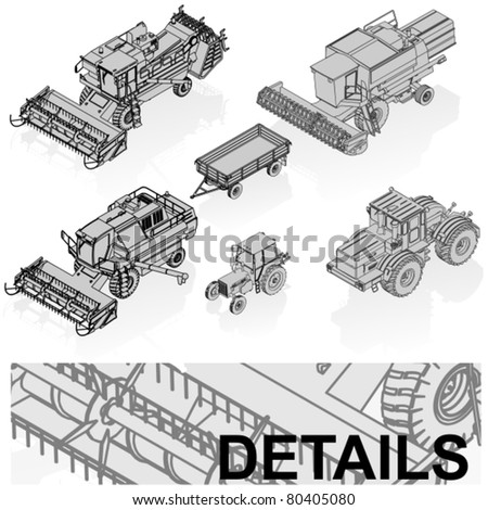 vector agricultural vehicles set - stock vector