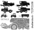 vector agricultural vehicles silhouettes set - stock photo