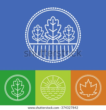Vector agriculture and organic farm line logos - set of design elements and badges for  industry - stock vector
