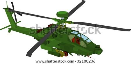 vector - AH 64 LB color - stock vector