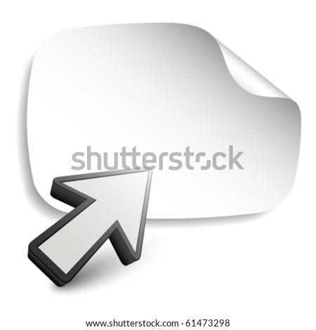vector aiming arrow with blank sticker - stock vector