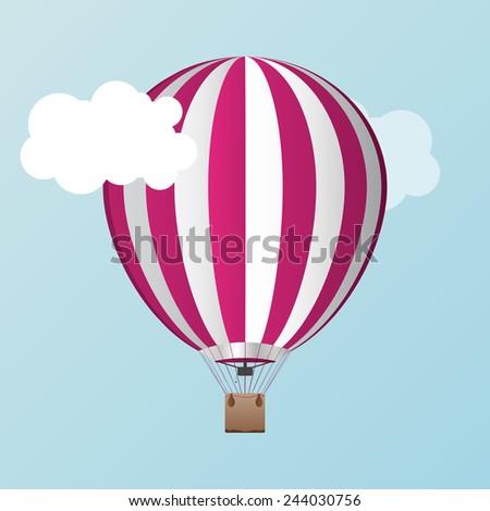 Vector air ballon with clouds - stock vector