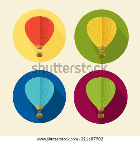 Vector air balloon icon flat. - stock vector