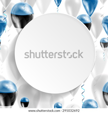 Vector air balloons festive pattern with Flag of Estonia. Celebration and gifts. Paper circle with festive balloons on white background. Independence Day. Balloons on the feast of the national day - stock vector