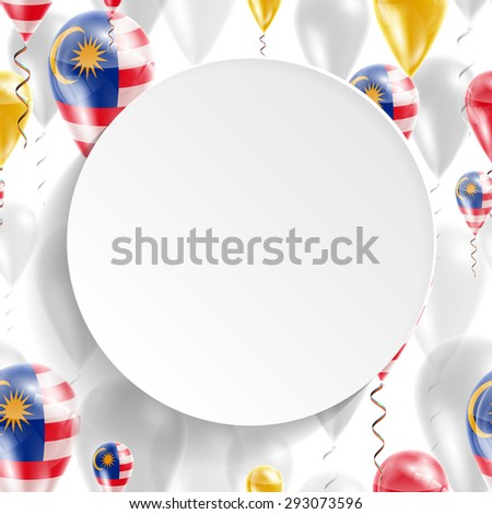 Vector air balloons festive pattern with Flag of Malaysia. Celebration and gifts. Paper circle with festive balloons on white background. Independence Day. Balloons on the feast of the national day