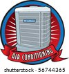 Vector air conditioning unit in burst. - stock photo
