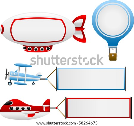 Vector Air Travel Banners - stock vector