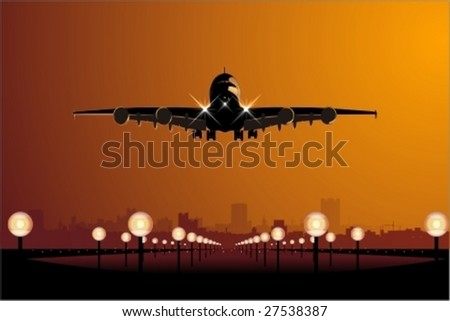 Vector Airbus landing at sunset. - stock vector