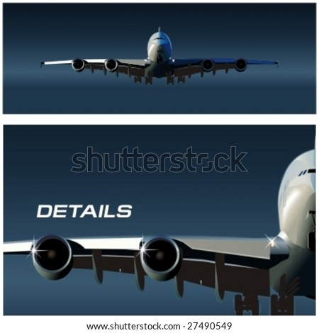 Vector airbus takeoff. More vector airplanes see in my portfolio. - stock vector