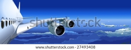 Vector airbus wing with turbines. More vector airplanes see in my portfolio. - stock vector