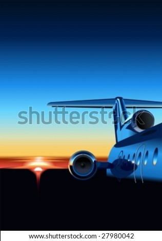 Vector aircraft  at sunrise. More vector airplanes see in my portfolio. - stock vector