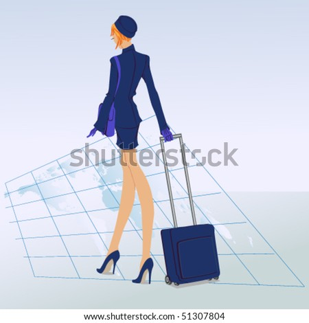 Vector airhostess stepping on the world