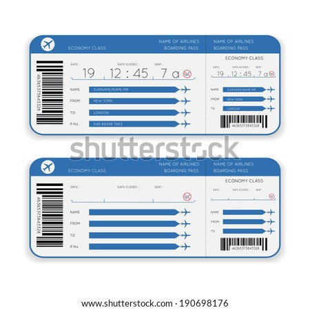 vector airline boarding pass ticket isolated on white background - stock vector