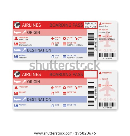 Vector airline boarding pass ticket isolated on white background. - stock vector