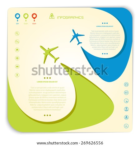 Vector airline brochure with two swirled airplanes and infographic elements, minimalistic style, whirlwind of airplane, for travel agencies, aviation companies - stock vector
