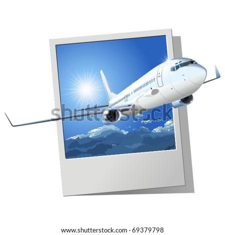 Vector airliner - stock vector