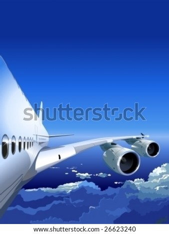 Vector Airliner a-380 in the Sky. More vector airplanes see in my portfolio. - stock vector
