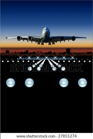 Vector airliner landing at sunset. More vector airplanes see in my portfolio - stock vector