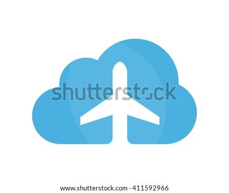 Vector airplane and cloud logo design template. Airport logo. Sky travel logo. Travel agency logo. Vector logo template.  - stock vector