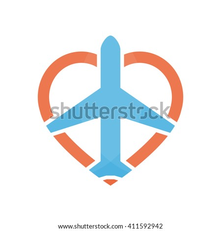 Vector airplane and heart logo design template. Airport logo. Sky travel logo. Travel agency logo. Vector logo template.  - stock vector