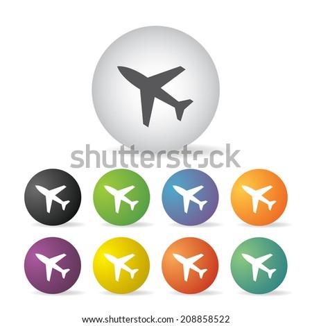 vector airplane button icon set   - stock vector