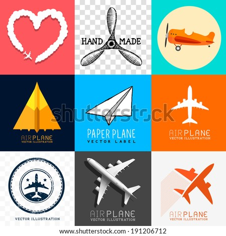 Vector Airplane Collection. Set of various planes and aircraft symbols, vector illustration. - stock vector